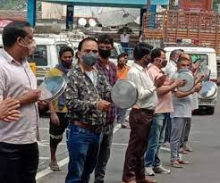 व्यापारियों ने थाली बजाकर दर्ज किया विरोध